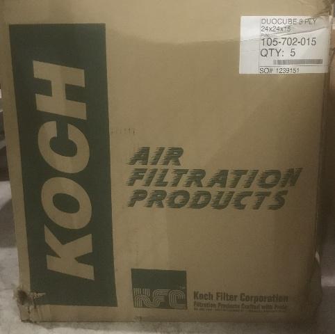 Koch Air Filtration, Duocube 3 Ply (24 X 24 X 15), PN  105-702-015, Qty 5 in a box.