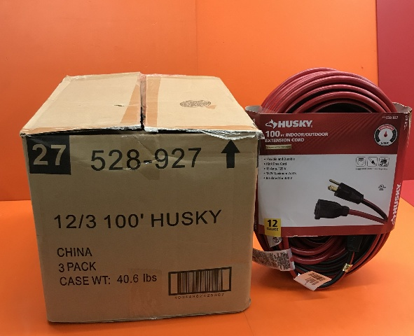 3- Pack,  Husky 100 ft. 12/3 Indoor/Outdoor Extension Cord, Red and Black, 528-927