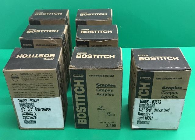 "Lot of 7 Boxes- Stanley, Bostitch Galvanized 1/2"" x 5/8"" Staples SB1030205/82.5M"