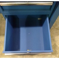 "60"" W x 36"" D Lab Table Plastic Laminate -Blue with 2 drawers and top shelf"