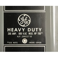 General Electric Heavy Duty Safety Switch TH3364 /200 AMP, 600 VAC
