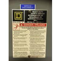 Square D Heavy Duty Safety Switch HU364, Non fusible, 200 AMP, 600 VAC, 50/60 Hz