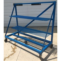 "Portable Blue Steel Racks,( 30"" Long x 74 1/4"" Wide x 62 1/4"" High) On HD rubber wheels"