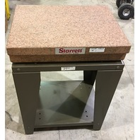 """Starrett Crystal Pink Surface Plate with 2 ledges Grade B 18"""" x 24"""" x 4-1/2"""" With Stand"""