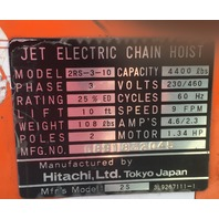 Jet Electric Chain Hoist  2 Ton 2RS-3-10/10 ft lift W/ 2 Ton CM Railstar Trolley
