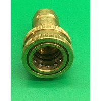 "2- Dixon Valves, 6HF6-B Brass ISO-B Interchange Hydraulic Fitting, Coupler, 3/4"" Coupling x 3/4"" - 14 NPTF Female Thread + Female Plug"