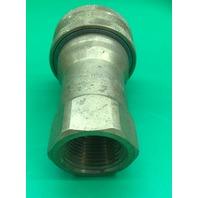 "Dixon Valve 8HF8-B Brass ISO-B Interchange Hydraulic Fitting, Coupler, 1"" Coupling x 1"" - 11-1/2 NPTF Female Thread"