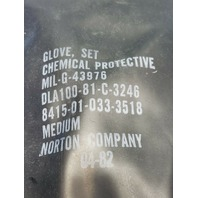Box of 40-Chemical Protective Rubber Gloves Set Norton Company MIL-G-43976 Size Medium