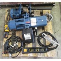Demag 2200 lbs Cap., 3 PH 460V electric chain hoist, DKUN 5-500 K V1 F4, 13 ft lift