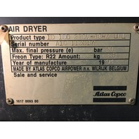 Atlas Copco GA 37-125 Air cooled Rotary Compressor with Air Dryer 125 PSI