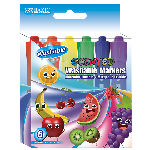WASHABLE MARKERS SCENTED 6 COLORS