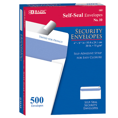 10 SELF SEAL SECURITY ENVELOPES