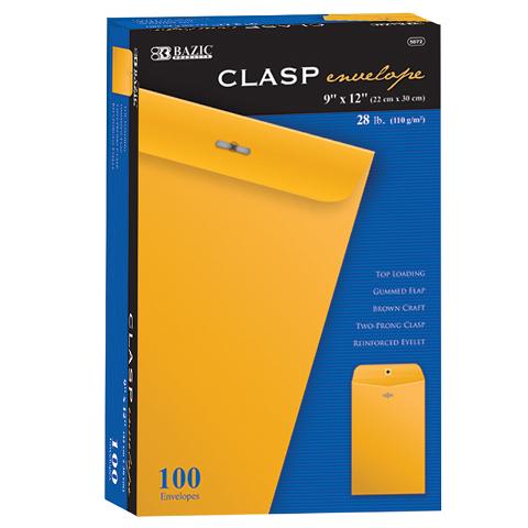 BAZIC CLASP ENVELOPES 9 X 12