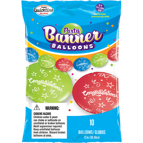 CONGRATS PARTY BANNER BALLOONS