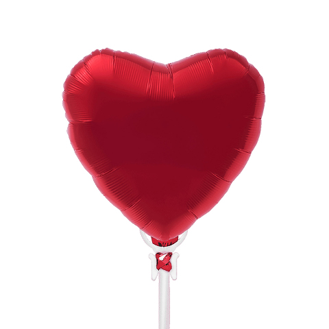 9IN RED FOIL HEART ON A STICK