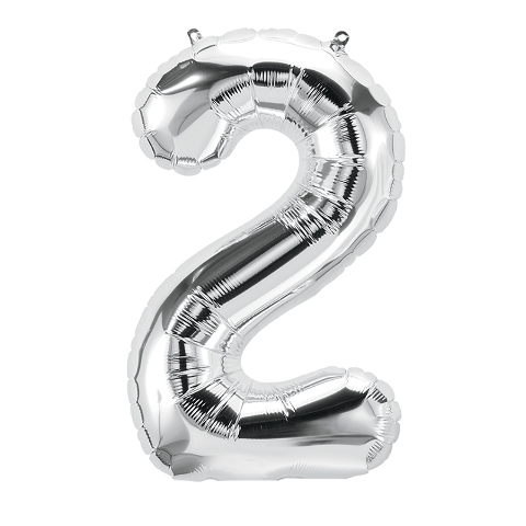 16IN FOIL BALLOON SILVER NUMBER 2