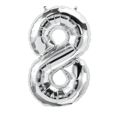 16IN FOIL BALLOON SILVER NUMBER 8