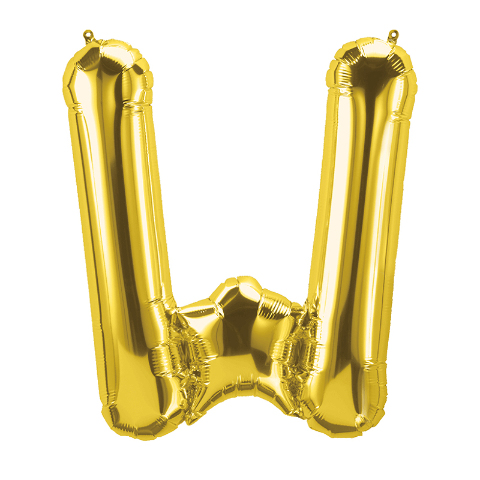 16IN FOIL BALLOON GOLD LETTER W
