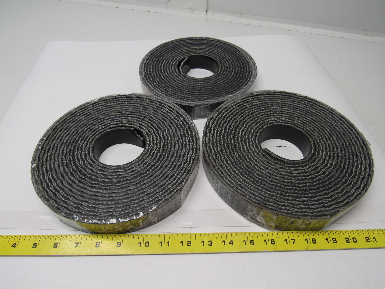 "Black Rubber woven conveyor belt 1-1/4""x .200"" thick Lot of 3 Rolls 75' total"