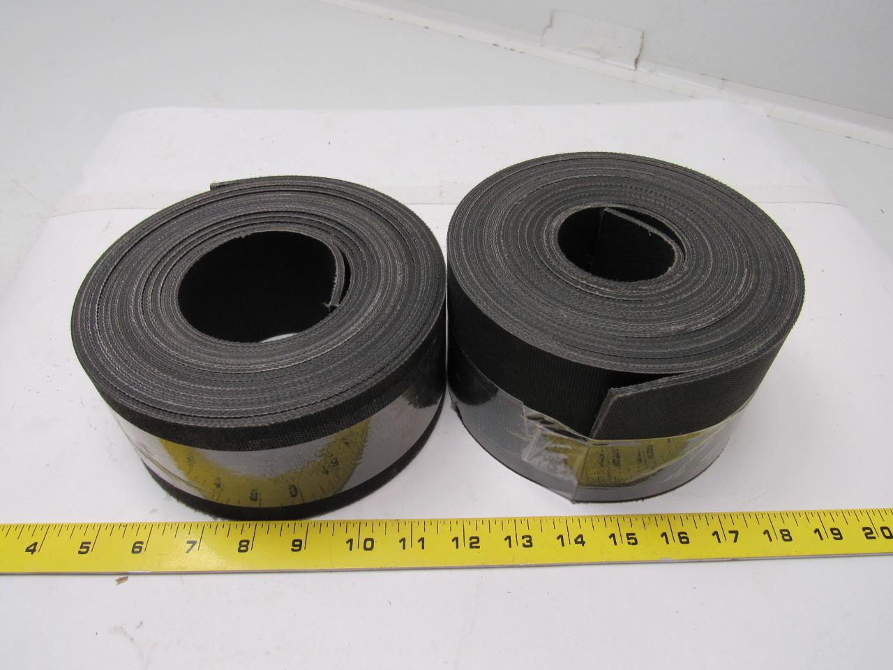 "3-Ply Black Nylon/Fabric Top Conveyor Belt 0.140"" thick 2 rolls  3.375 x 17' and 3.250 x 17'"