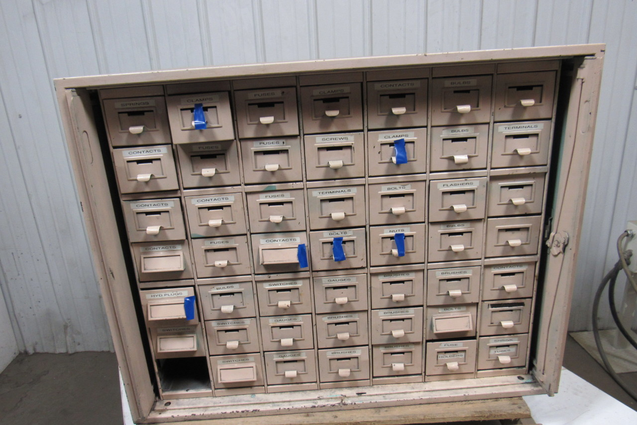 small parts cabinet 48 drawer vintage industrial steel small parts storage 26395
