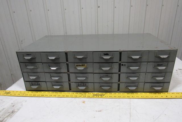 "24 Drawer Industrial Metal Small Parts Bin Cabinet  34""x17""x10-1/2"""