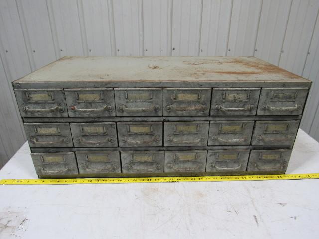 Vintage 18 Drawer Industrial Steel Small Parts Bin Storage Cabinet 34x17x13-1/2