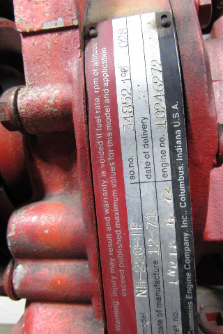 Cummins NH-220-IF Fire Pump Engine 175 HP@1750 Rpm LOW 717 HOURS Tested!