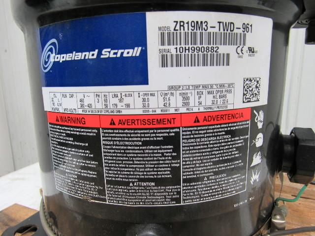 Copeland Scroll ZR19M3-TWD-961 Compressor 16 Ton Mineral Oil 3 Phase 460V  R22