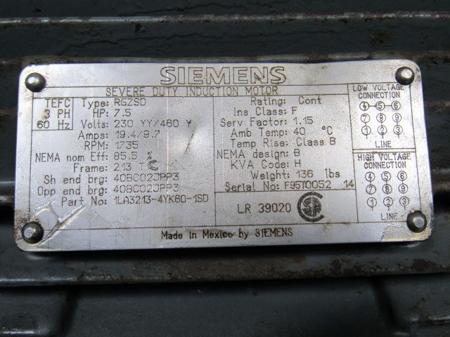 Siemens Rgzsd 7 1 2 Hp Severe Duty Ac Electric Motor