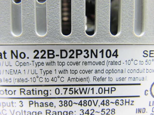 A-B Allen Bradley 22B-D2P3N104 Series A Label, VFD Powerflex 40 Motor Drive  1HP