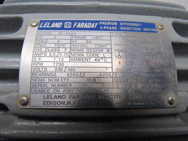 Leland Faraday M4506 2Hp Electric Motor 208230460V 3Ph