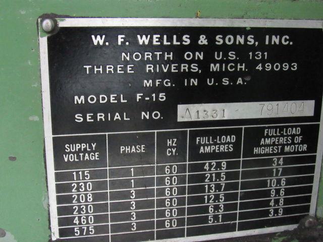 W F Wells Amp Sons Model F 15 2 Industrial Dual Post