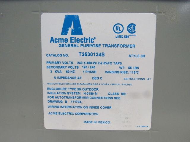 Acme T2530134s 240  480v Pri 3 Kva 1ph 60hz 120  240v Secondary Transformer