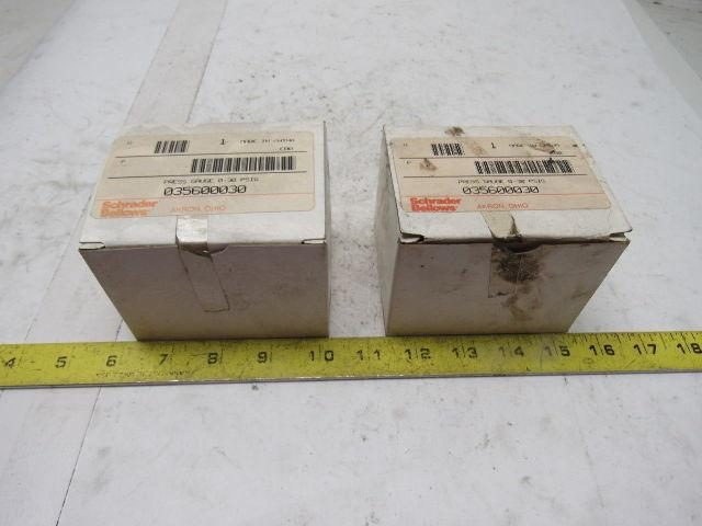 Schrader Bellows 035600030 Pressure Gauge 0-30PSI Lot Of 2