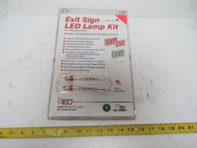LEDtronics EXL-R-011A Exit Sign Incandescent To LED Retrofit Kit Red Lens 15T6