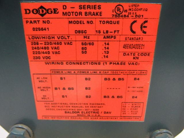 baldor vbm3615t-d 5hp 1750rpm 3ph 208-230/460v 60hz 184tc electric motor w/ brake