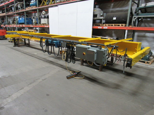 30' Span 5 Ton Single Girder Top Runner Bridge Crane W/Demag Hoist & Remote 480V