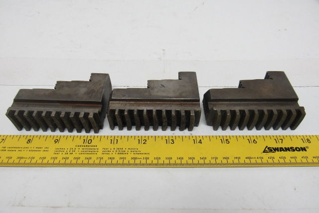 "Union MFG #449 Self Centering Spiral Chuck Jaws 2-1/2 x 3-1/2 x 1"" Lot Of 3"
