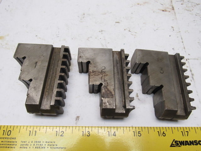 "#52553 Self Centering Step Spiral Chuck Jaws Hardened 3x2-1/4x1"" Lot Of 3"
