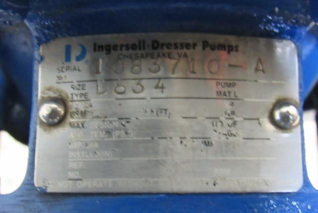 Details about Ingersoll Dresser D834 5Hp Circulation Pump Assembly  208/230/460V 3Ph