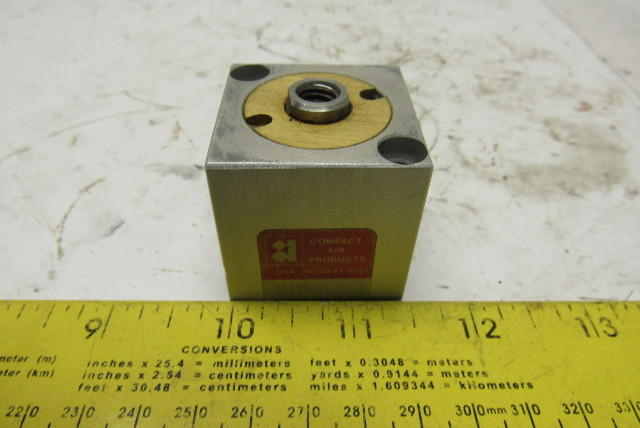 """Compact Air Products S118X34 1-1/2"""" Square Bore 11/16"""" Stroke Cube Air Cylinder"""