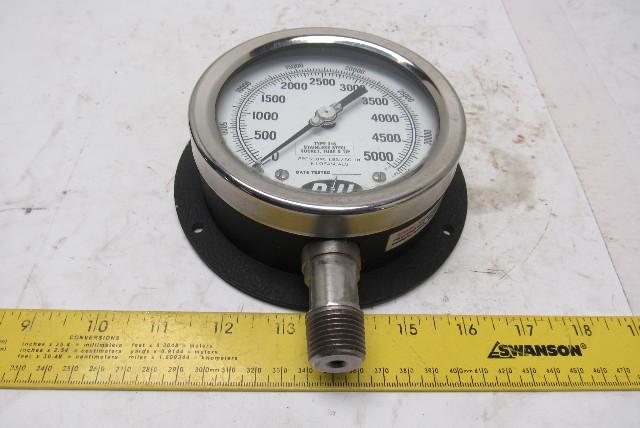 "D U 4"" Pressure Gauge 1/2"" NPT 0-5000PSI 0-34500 ..."