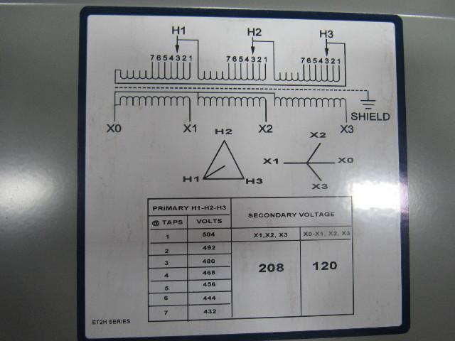 Details about HEVI DUTY ET2H75S General Purpose Transformer 75KVA 480V on