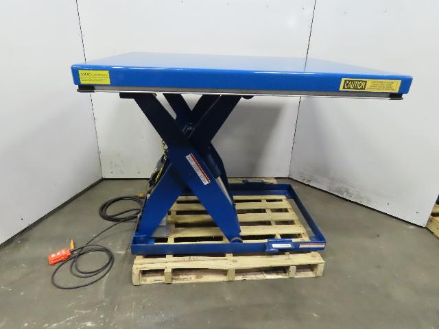 """Vestil EHLT-4455-3-43 3000Lb Scissor Lift Table 55"""" x 44"""" 115V 7"""" to 43"""" Height"""