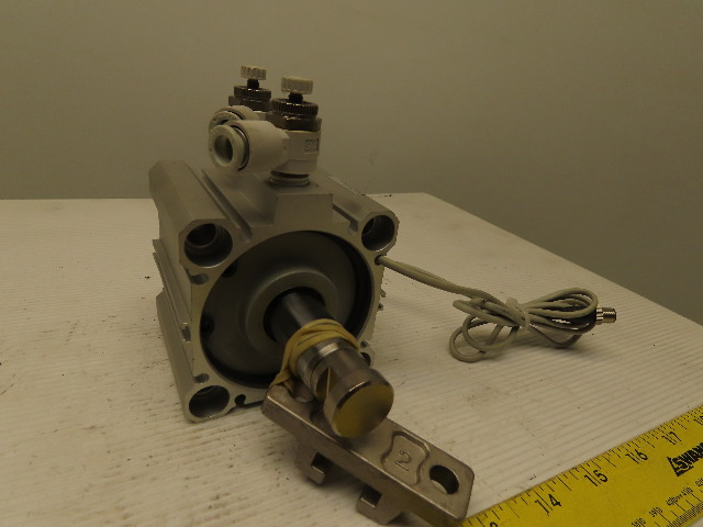 """SMC CDQ2B63-25D-M9PSAPC 2-1/2"""" Bore 1"""" Stroke Compact Air Cylinder W/ Switches"""