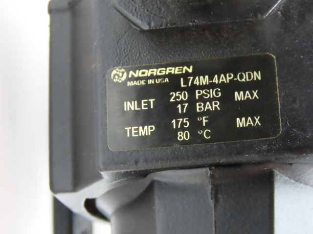 Norgren B74G-3AK-AD3-RMG /& L74M-4AP-QDN Pneumatic Filter Regulator Lubricator