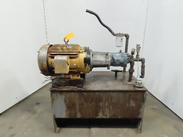 30 Gallon 15HP Hydraulic Power Unit 3PH 230/460V W/Eaton PVQ20-B2R Pump