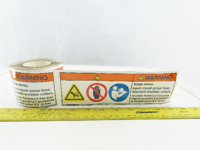 Clarion C-2162-47 Conveyor Roller Pinch Hazard Warning OSHA Label Roll Of 100