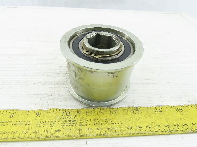 """3-5/16"""" OD 2"""" Belt Width Shouldered Flat Belt Pulley 1-1/16"""" Hex Bore"""
